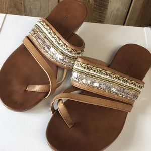 Maurices Embellished Brown Sandals Size 7 Beaded